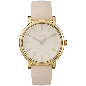Timex Men's Gold-Plated Beige Leather Strap Watch - Product number 5295173