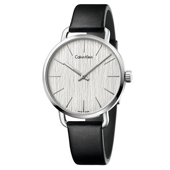 Calvin Klein Even Men's Black Leather Strap Watch - Product number 5296064