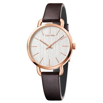 Calvin Klein Even Ladies' Brown Leather Strap Watch - Product number 5296080