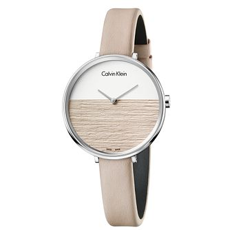 Calvin Klein Rise Ladies' Beige Leather Strap Watch - Product number 5296129
