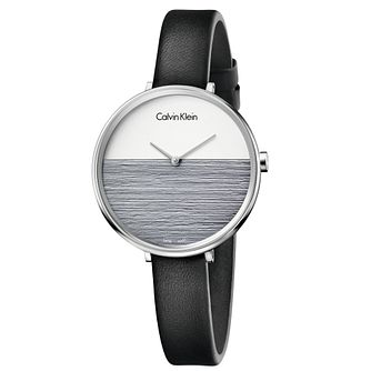 Calvin Klein Rise Ladies' Black Leather Strap Watch - Product number 5296145