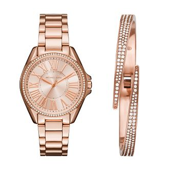Michael Kors Ladies' Rose Gold Tone Bracelet Watch Gift Set - Product number 5296390