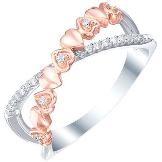 9ct White & Rose Gold 0.12ct Diamond Ring - Product number 5302625