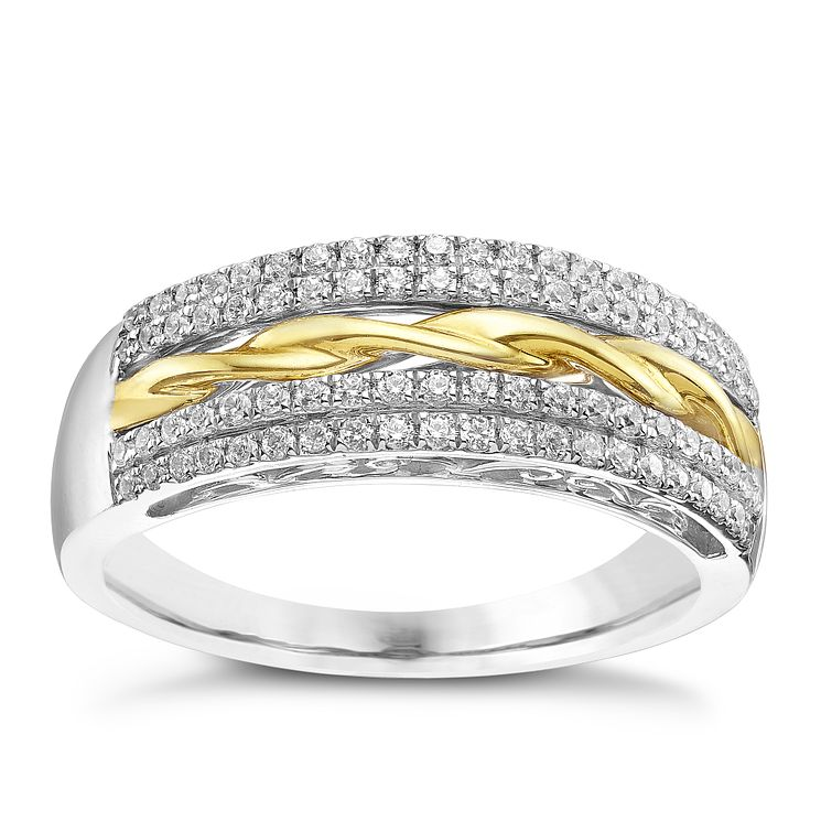 9ct White & Yellow Gold 0.39 Diamond Eternity Ring - Product number 5304725