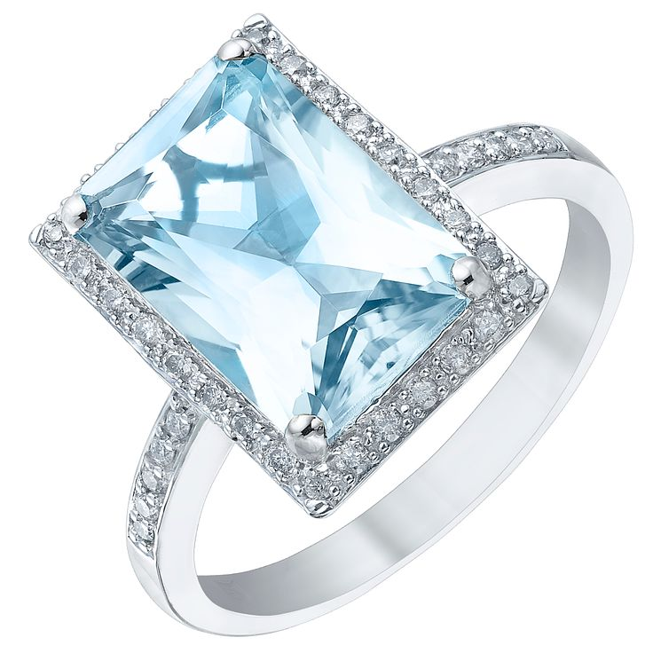 9ct White Gold London Blue Topaz & 0.07ct Diamond Ring - Product number 5306779