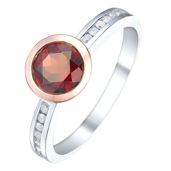 Sterling Silver & 9ct Rose Gold Garnet & Diamond Ring - Product number 5310067