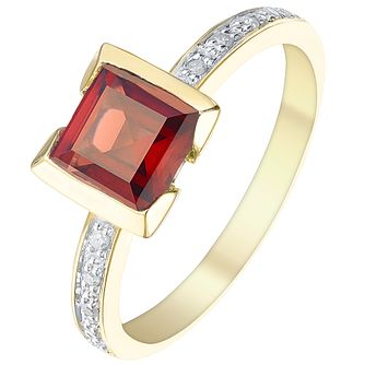 9ct Gold Square Garnet & Diamond Ring - Product number 5310334