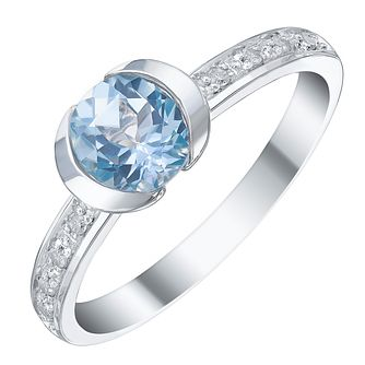 Sterling Silver Blue Topaz & Diamond Ring - Product number 5311659