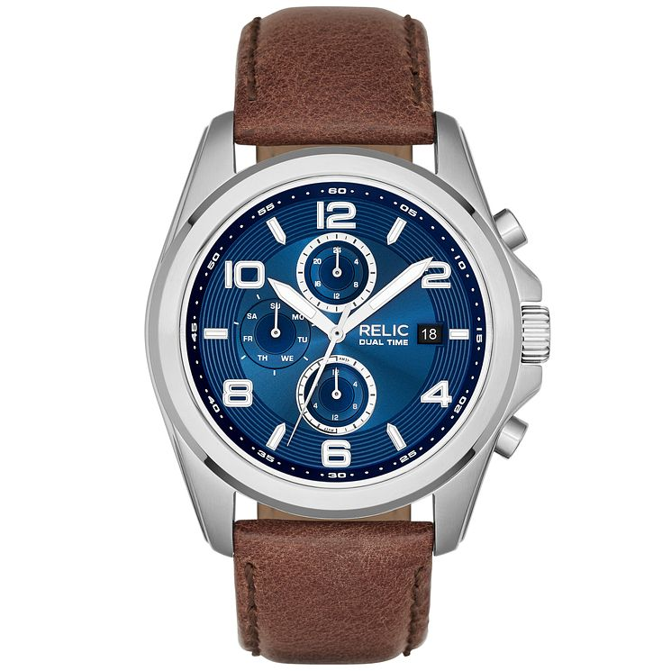 Relic Daley Men's Blue Dial Brown Leather Strap Watch - Product number 5321115