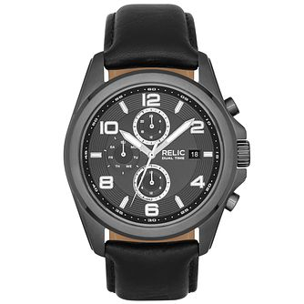 Relic Daley Men's Gunmetal Dial Black Leather Strap Watch - Product number 5321123