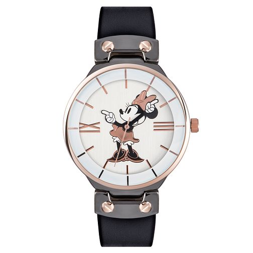 Disney Minnie Mouse Black Leather Strap Watch - Product number 5323142