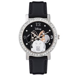 Disney Minnie Mouse Stone Set Black Leather Strap Watch - Product number 5323177
