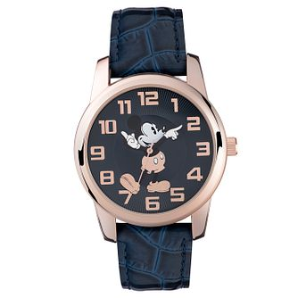 Disney Mickey Mouse Gold-Plated Blue Strap Watch - Product number 5323274