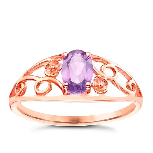 9ct Rose Gold Amethyst Flower Detail Ring - Product number 5323398