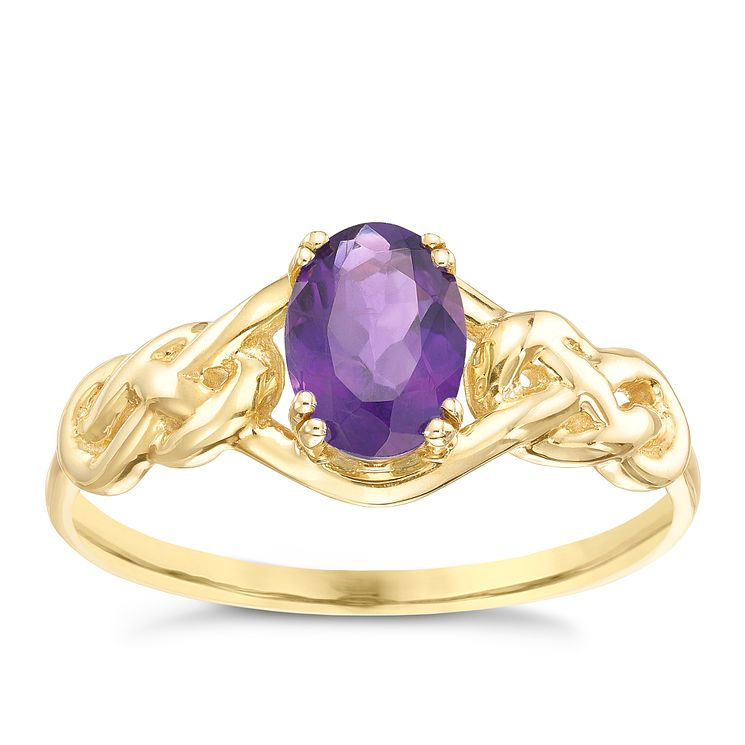 9ct Gold Amethyst Celtic Knot Shoulder Ring - Product number 5323894