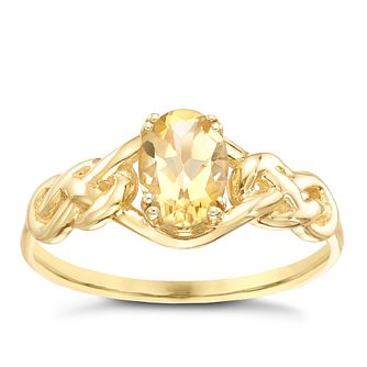 9ct Gold Citrine Celtic Knot Shoulder Ring - Product number 5324033