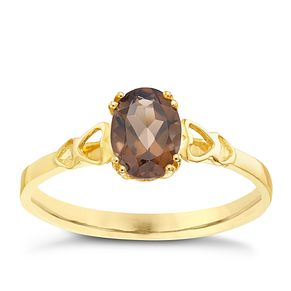 9ct Gold Smokey Quartz Heart Shoulder Detail Ring - Product number 5324548