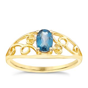 9ct Gold London Blue Topaz Flower Detail Ring - Product number 5324688