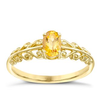 9ct Gold Citrine Fancy Shoulder Ring - Product number 5325315