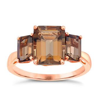 9ct Rose Gold Baguette Cut Smokey Quartz Trilogy Ring - Product number 5325463