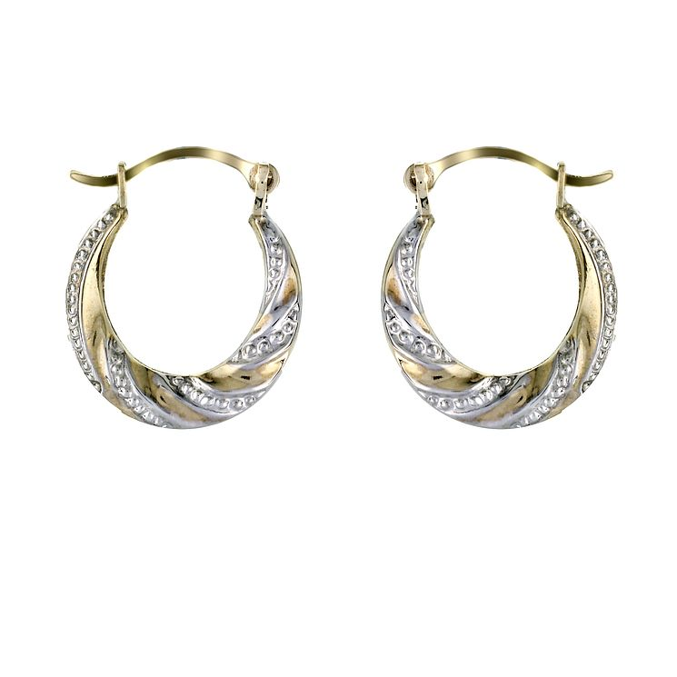 9ct Two Colour Gold Embossed Creole Earrings - Product number 5339375