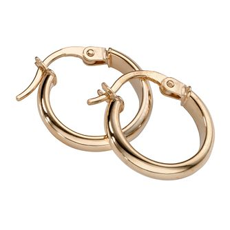 9ct Yellow Gold Round Creole Earrings - Product number 5343801