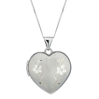9ct White Gold Diamond Cut Heart Locket - Product number 5346665