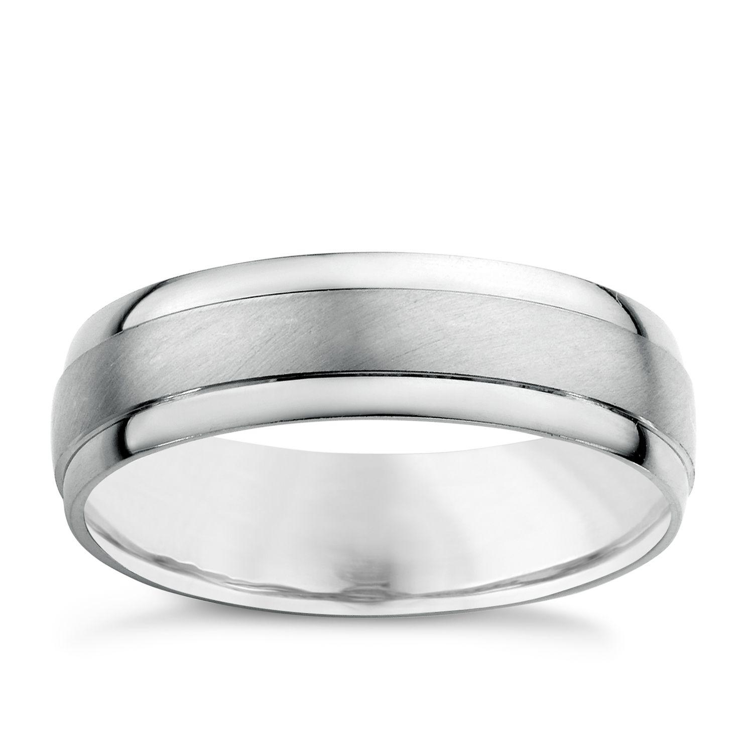 Platinum Men s Matt Polished Wedding Ring