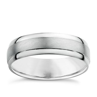 Platinum Men's Matt & Polished Wedding Ring - Product number 5353130