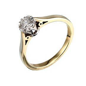 9ct Yellow Gold Third Carat Diamond Illusion Ring - Product number 5379768