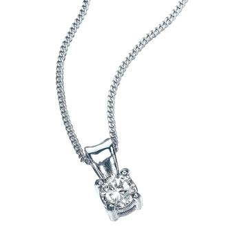 9ct White Gold 1/5 Carat Diamond Solitaire Pendant - Product number 5381088