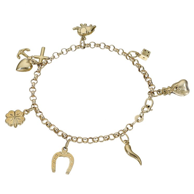 9ct Yellow Gold Lucky Charm Bracelet - Product number 5394597