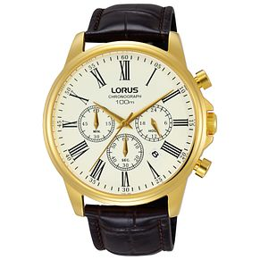 Lorus Men's Chronograph Brown Leather Strap Watch - Product number 5410045