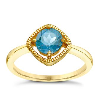 9ct Gold London Blue Topaz Milgrain Detail Ring - Product number 5410606