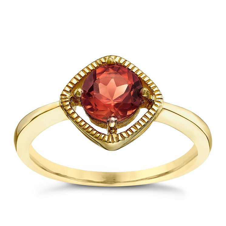 9ct Gold Garnet Milgrain Detail Ring - Product number 5410754
