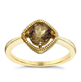 9ct Gold Smokey Quartz Milgrain Detail Ring - Product number 5410894