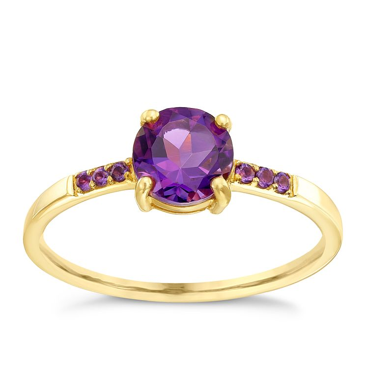 9ct Gold Amethyst Ring With Stone Set Shoulders - Product number 5411300