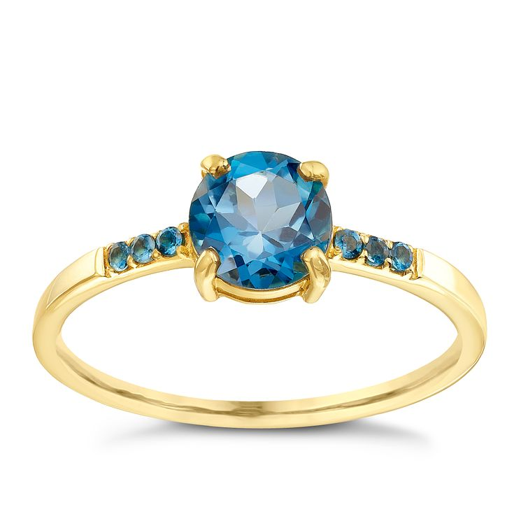 9ct Gold London Blue Topaz Ring With Stone Set Shoulders - Product number 5411440
