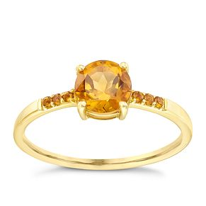 9ct Gold Citrine Ring With Stone Set Shoulders - Product number 5411734