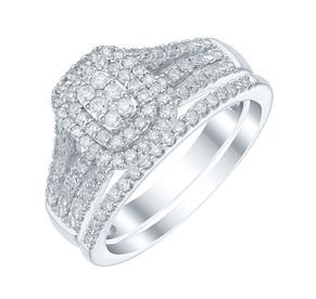 Perfect Fit 9ct White Gold 1/2 Carat Diamond Bridal Ring Set - Product number 5412722