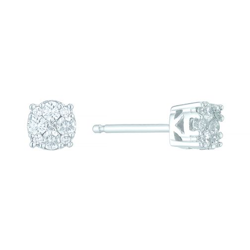 9ct White Gold 1/5 Carat Diamond Cluster Stud Earrings - Product number 5424569
