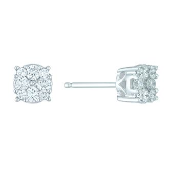 9ct White Gold 1/3 Carat Diamond Cluster Stud Earrings - Product number 5424577
