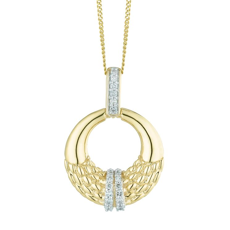9ct Gold 0.10 Carat Diamond Circle Link Pendant - Product number 5424631