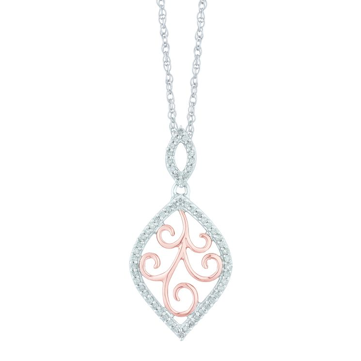 Sterling Silver & 9ct Rose Gold 0.16 Carat Diamond Pendant - Product number 5424674