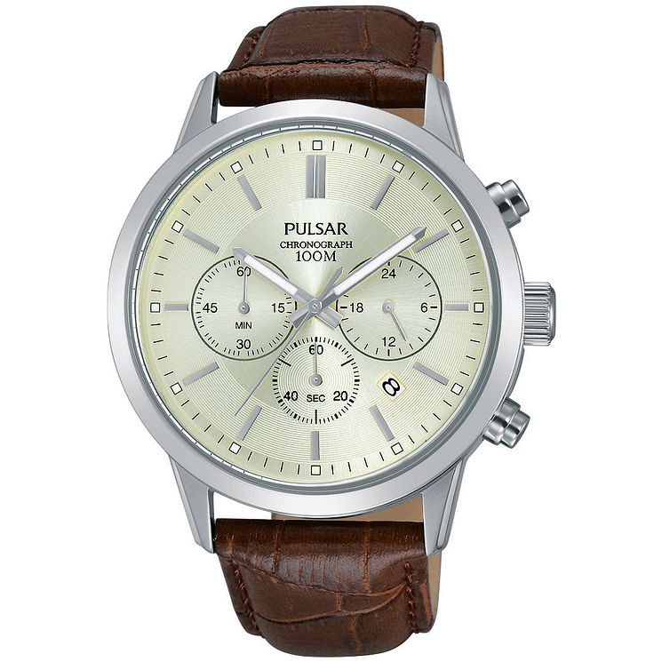 Pulsar Gent's Brown Leather Strap Watch - Product number 5427274
