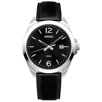 Seiko Gent's Black Leather Strap Watch - Product number 5427932