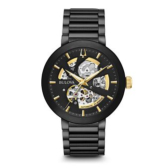 Bulova Men's Black Ion Plated Skeletonised Bracelet Watch - Product number 5446910