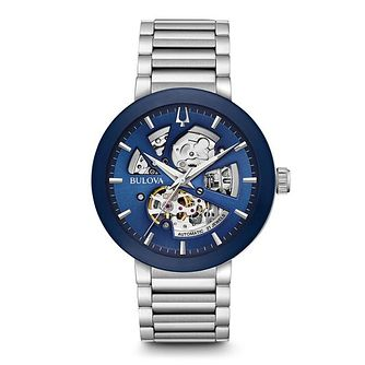 Bulova Men's Blue Skeletonised Bracelet Watch - Product number 5446929