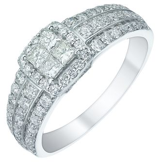 18ct White Gold 3/4ct Princess Cut Diamond Halo Cluster Ring - Product number 5516099