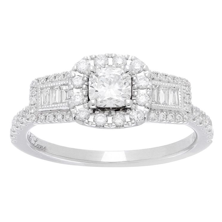 Neil Lane Bridal 14ct White Gold 0.90ct Diamond Halo Ring - Product number 5518091